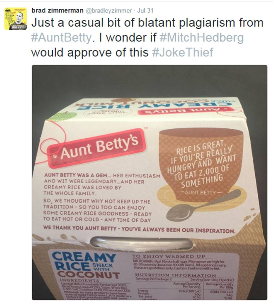 Aunt Betty Hedberg Tweet